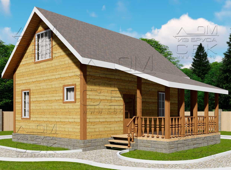 Проект дома из бруса 6 х 8 м «Барское» - фасад 1