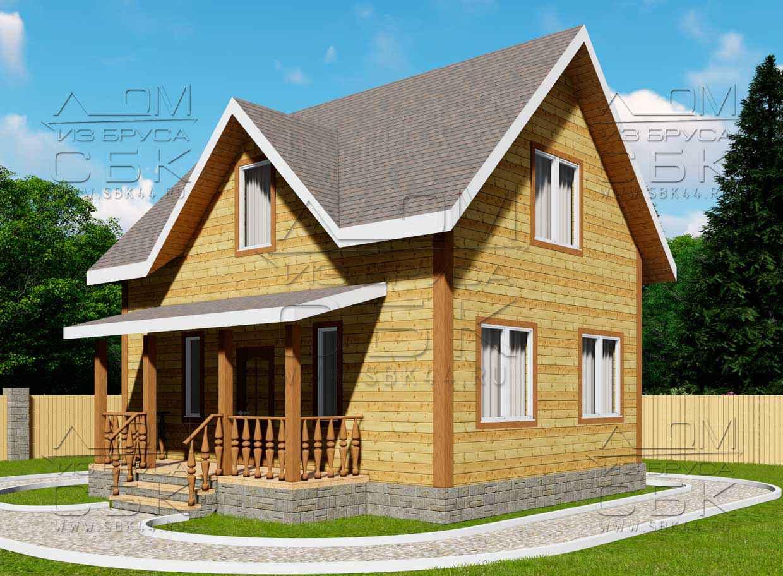 Проект дома из бруса 6 х 8 м «Бородино» - фасад 2