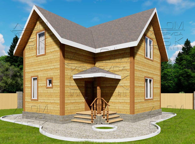 Проект дома из бруса 7 х 8 м «Гущино» - фасад 1