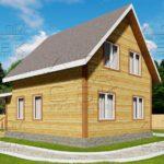 Проект дома из бруса 7 х 9,5 м «Григорьевское» - фасад 1