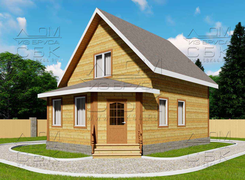 Проект дома из бруса 7 х 9,5 м «Григорьевское» - фасад 2