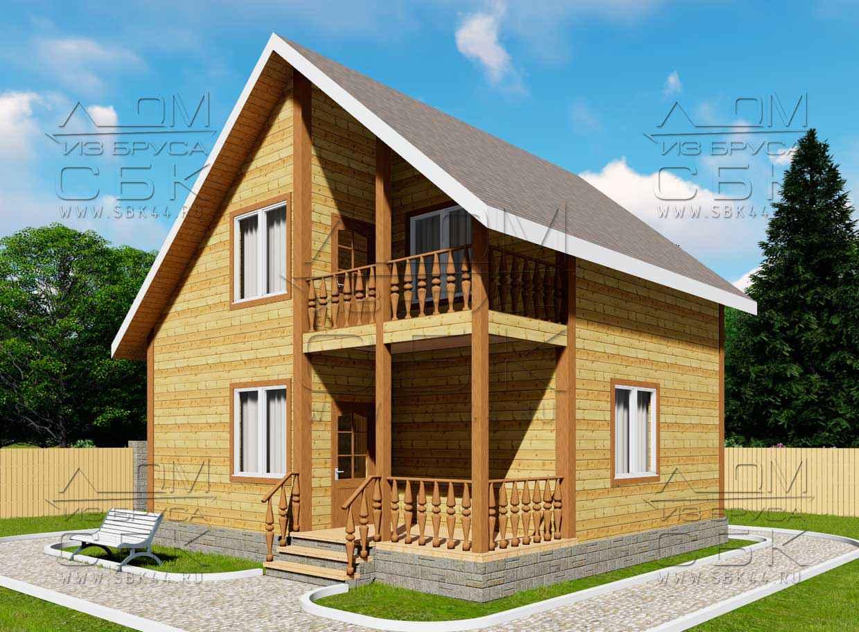 Проект дома из бруса 7,5 х 8 м «Васильевское» - фасад 2