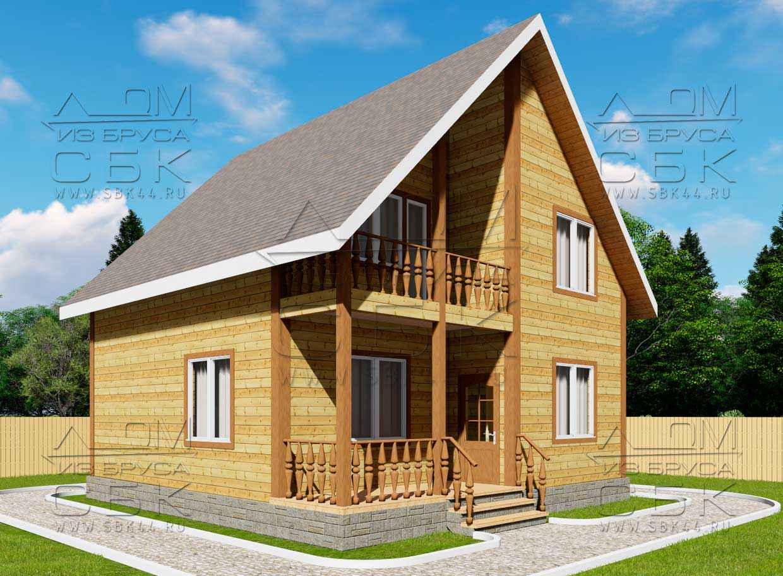 Проект дома из бруса 8,5 х 8 м «Есипово» - фасад 1
