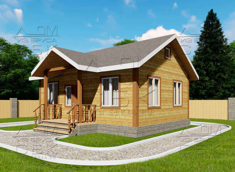 Проект дома из бруса 6 х 8 м «Песочный» - фасад 1