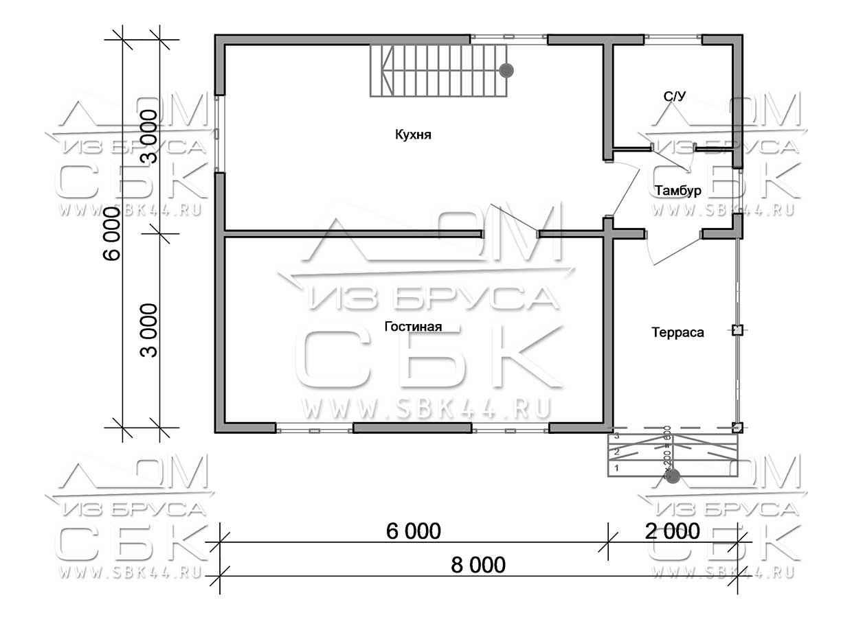 Проект дома из бруса 6 х 8 м «Парковый» - план 1-го этажа