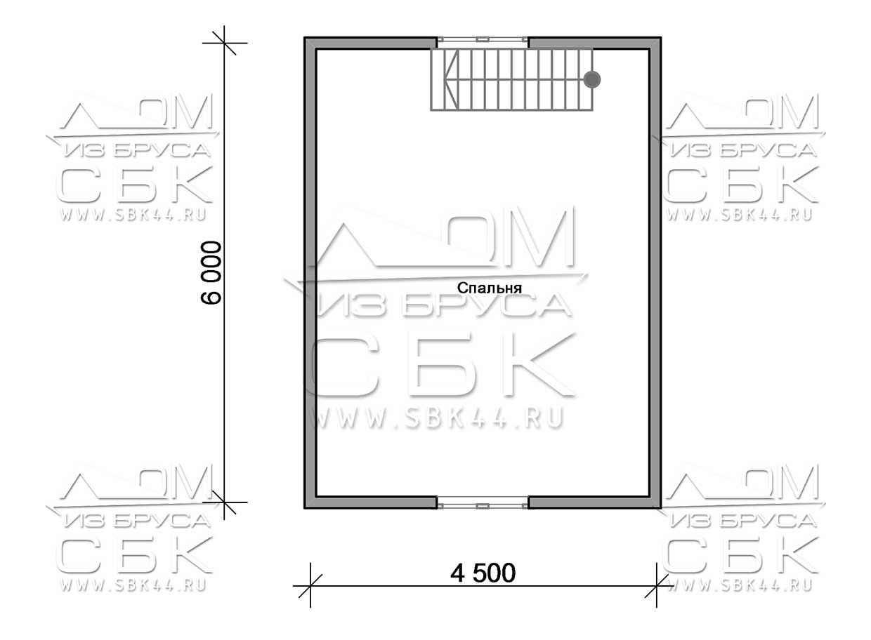 Проект дома из бруса 6 х 8 м «Парковый» - план 2-го этажа