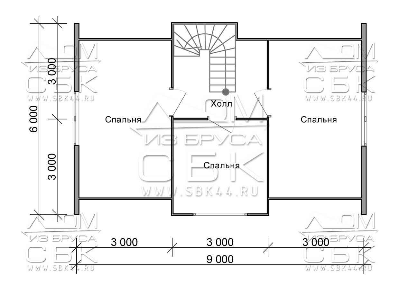 Проект дома из бруса 6 х 9 м «Бахарево» - план 1-го этажа