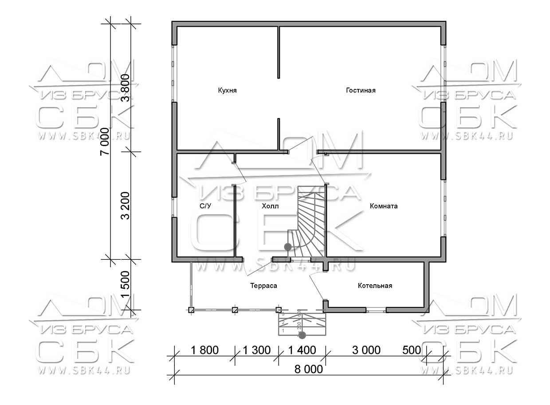 Проект дома из бруса 7 х 8 м «Береговой» - план 1-го этажа