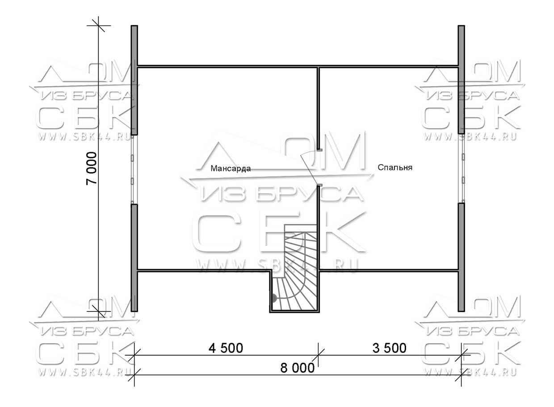 Проект дома из бруса 7 х 8 м «Береговой» - план 2-го этажа