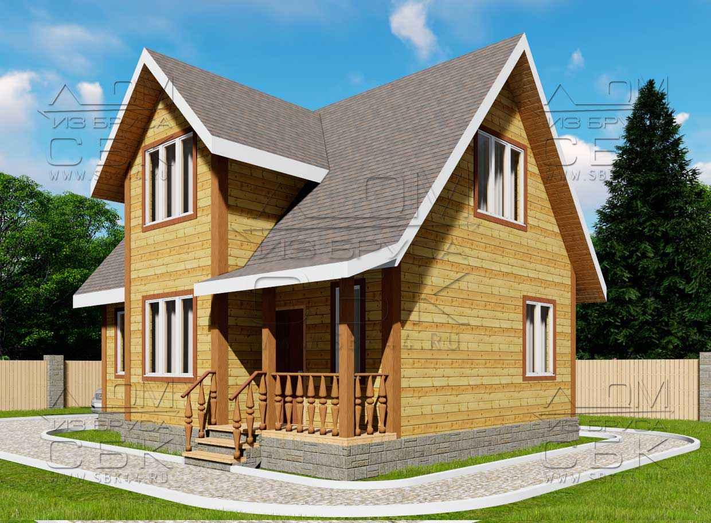 Дом из бруса 7 х 9 м «Гальяново» - фасад