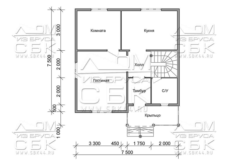 Проект дома из бруса 7,5 х 7,5 м «Изумруд» - план 1го этажа