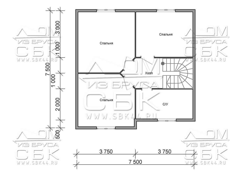 Проект дома из бруса 7,5 х 7,5 м «Изумруд» - план 2 го этажа