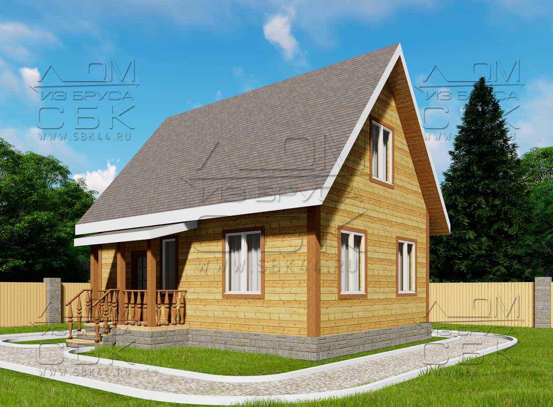 проект дома из бруса 6 х 8 м «Сангридское»