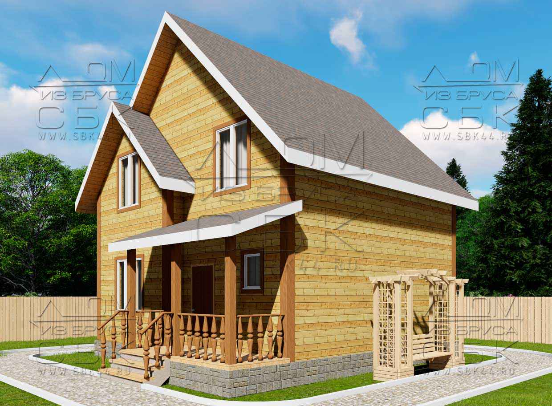Проект дома из бруса 7,5 х 7,5 м «Изумруд» - фасад 1