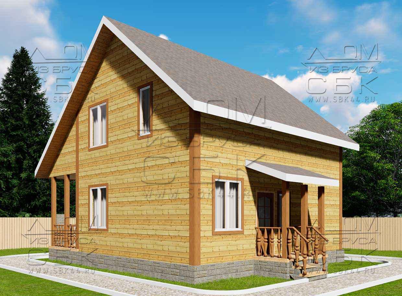 Проект дома из бруса 7,5 х 8 м «Лесничий» - фасад 1