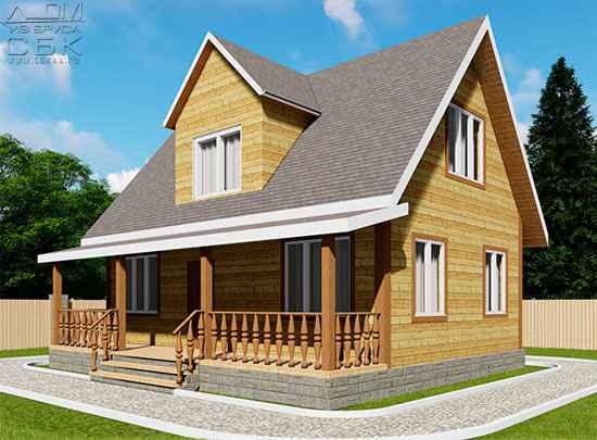 Проект дома из бруса 6 х 9 м «Сантори»