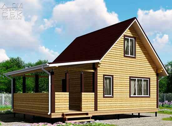 Проект брусового дома с террасой 6 х 6 (9) «Дугино» - мини
