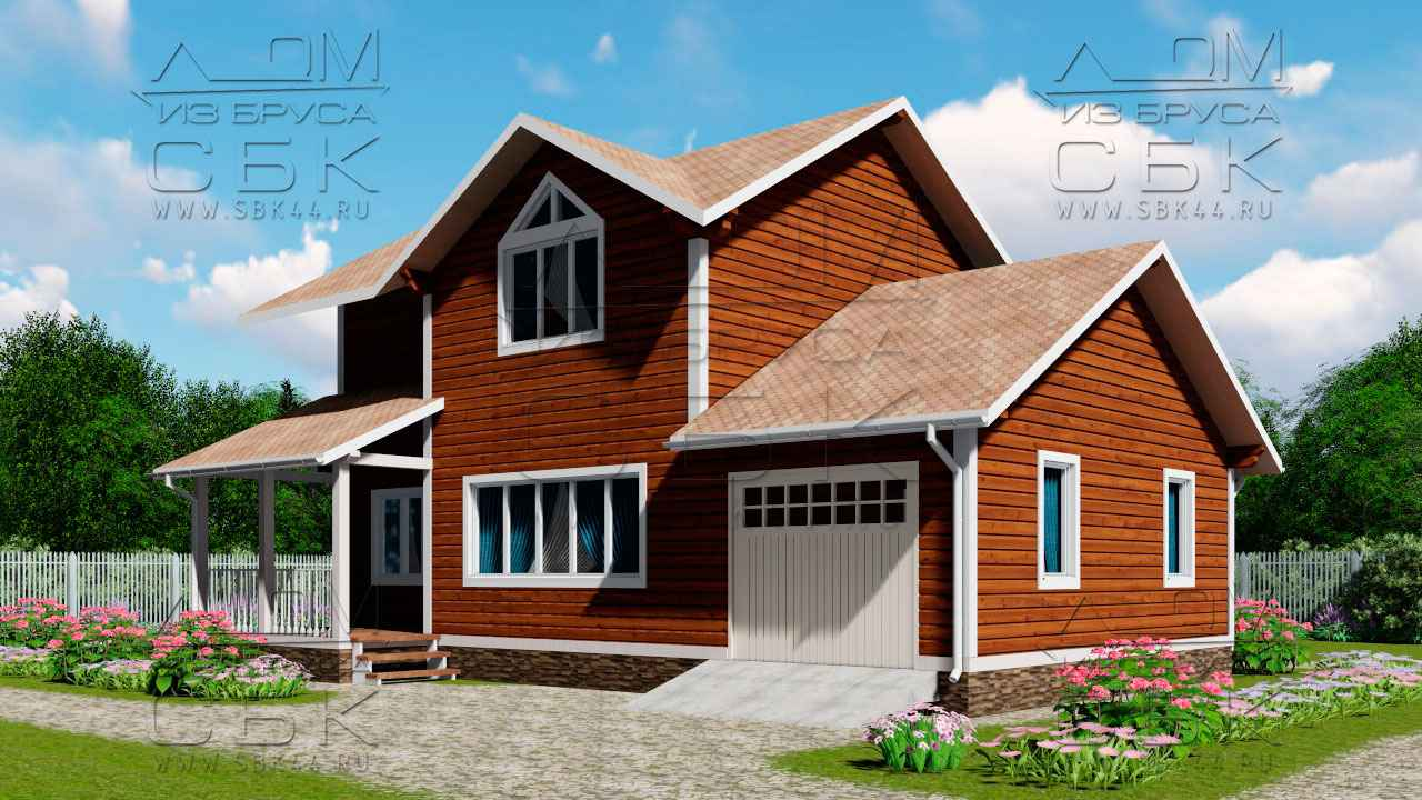 Проект дома из бруса 12 х 8,5 с гаражом «Терем» - 1