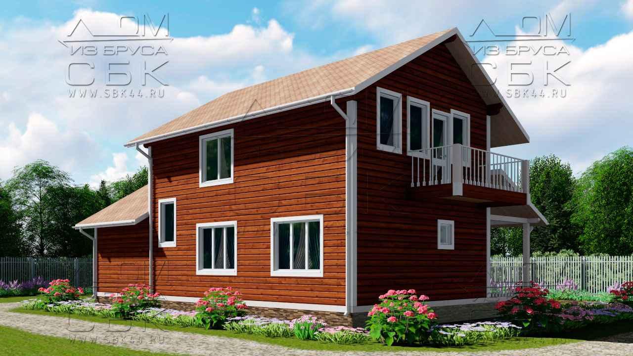 Проект дома из бруса 12 х 8,5 с гаражом «Терем» - 3