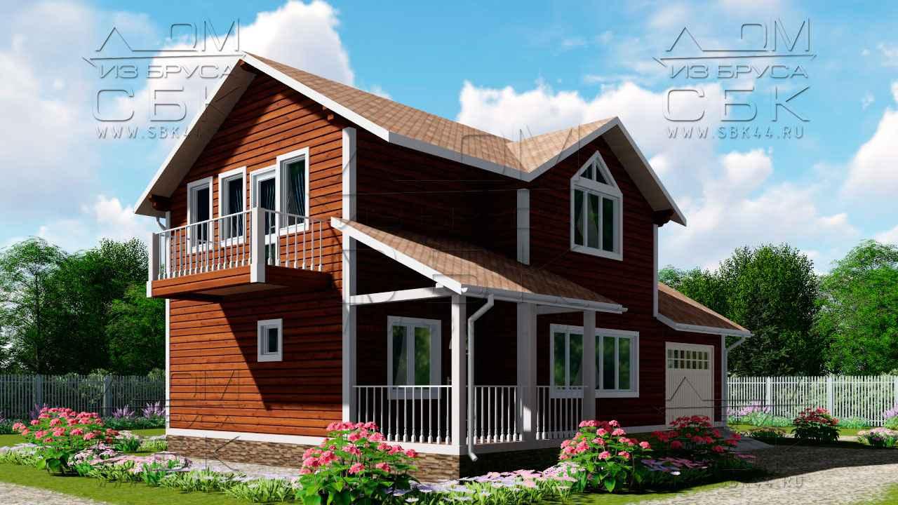 Проект дома из бруса 12 х 8,5 с гаражом «Терем» - 4