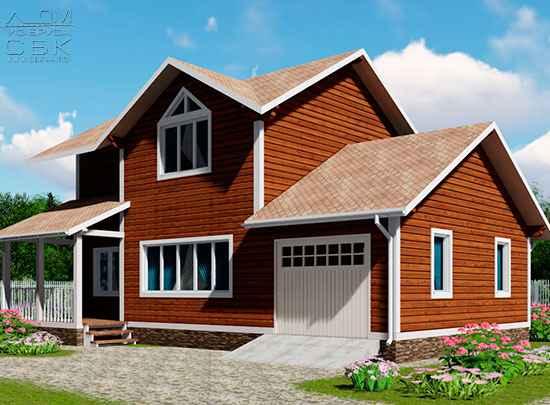 Проект дома из бруса 12 х 8,5 с гаражом «Терем» - мини