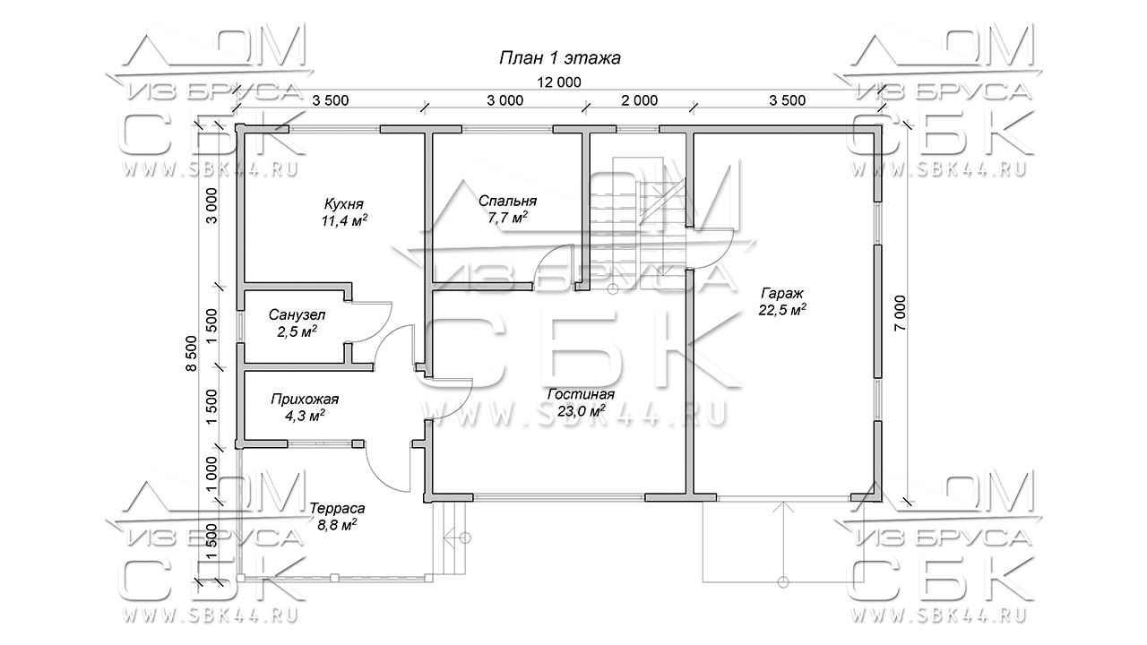 Проект дома из бруса 12 х 8,5 с гаражом «Терем» - 1 эт