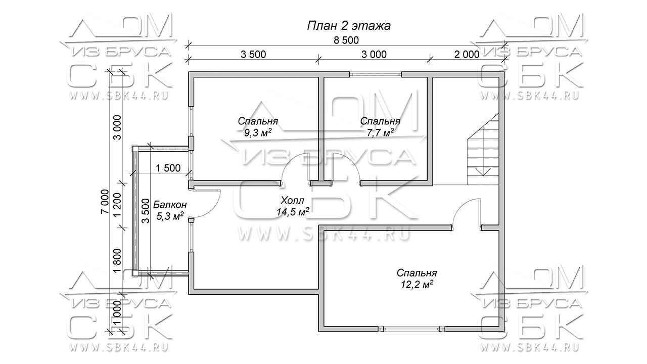 Проект дома из бруса 12 х 8,5 с гаражом «Терем» - 2 эт