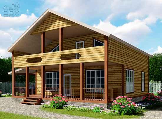 Дом из профилированного бруса 10 на 11 зимний лес