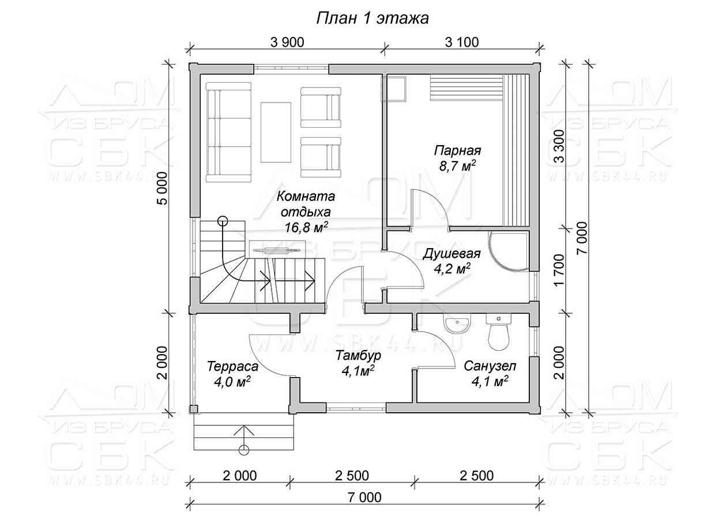 Гостевой дом с баней «Брусово» - план 1-го этажа