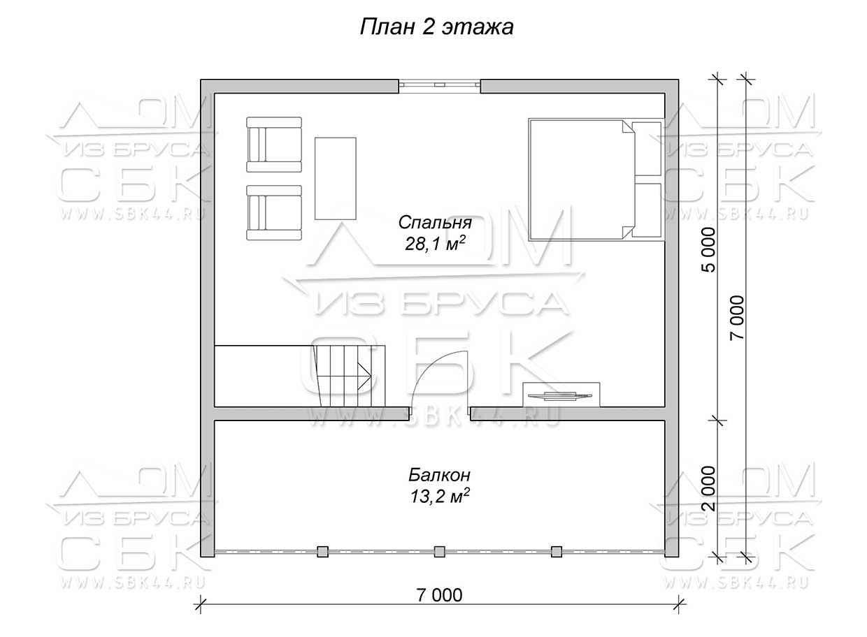 Гостевой дом с баней «Брусово» - план 2-го этажа