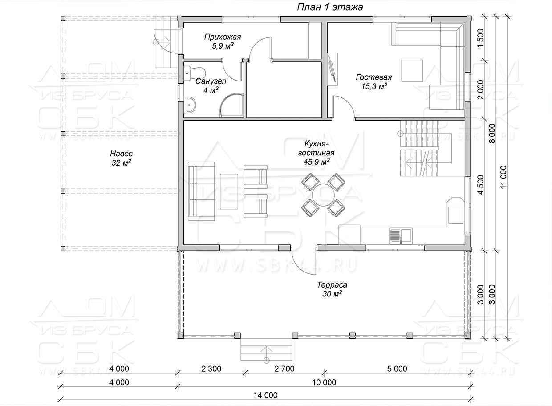Дом из профилированного бруса 10 на 11 зимний лес план 1-го этажа
