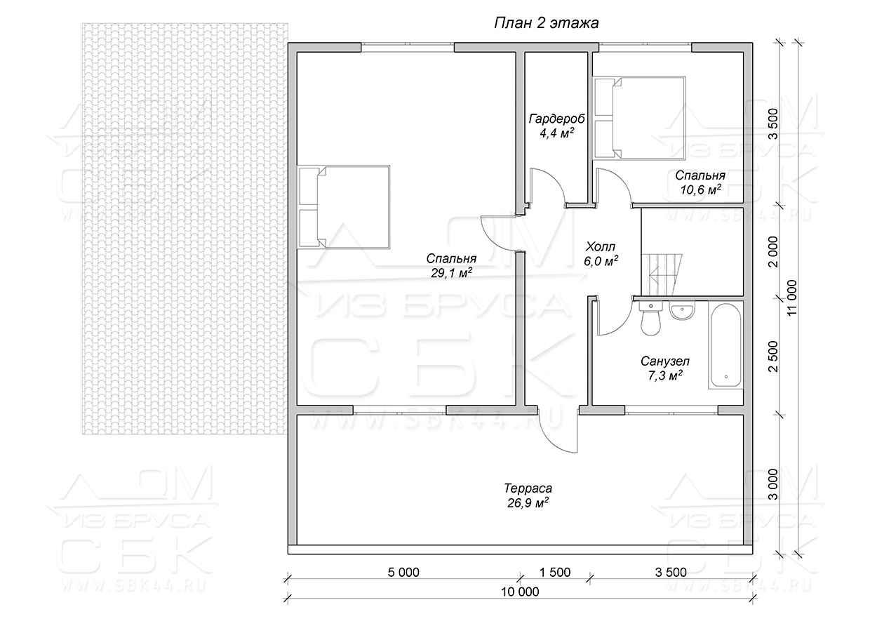 Дом из профилированного бруса 10 на 11 зимний лес план 2-го этажа