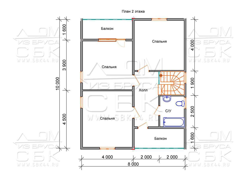 Дом из профилированного бруса 10 на 8 Ивановец план 1-го этажа