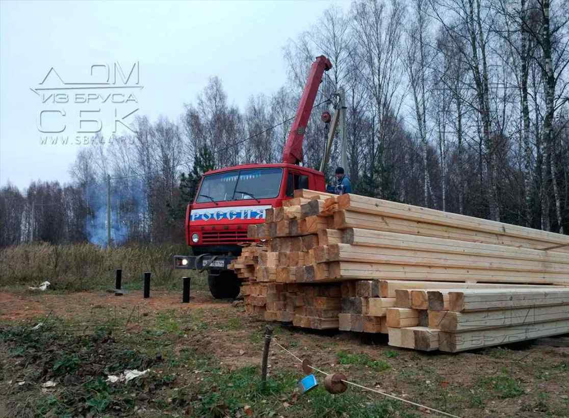 Строительство дома из профилированного бруса - доставка материала в Иваново