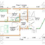 Проект бани из профилированного бруса 6 х 7,2 / 11,5 м «Ополье» планировка бани