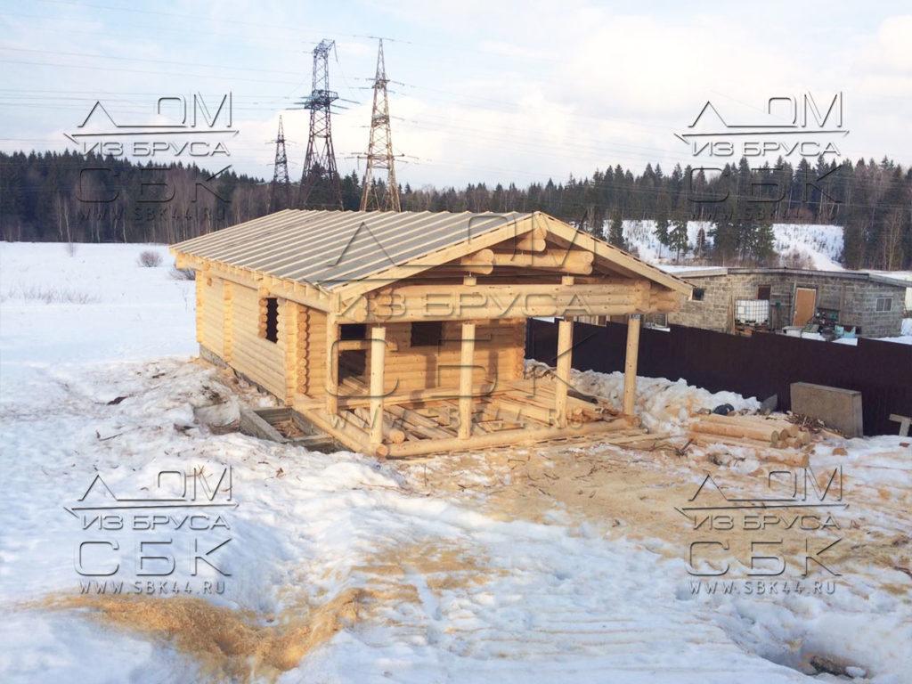 Баня из оцилиндрованного бревна 13 х 6 в Сергиев Посаде