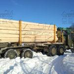 Разгрузка на участок манипулятором профилированного бруса под дом в МО Домодедовский район 2