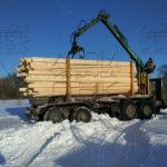 Разгрузка на участок манипулятором профилированного бруса под дом в МО Домодедовский район 3