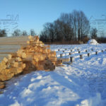 Разгрузка на участок домокомплекта из профилированного бруса 6 на 9 в МО, Домодедовский район - свайный жб фундамент