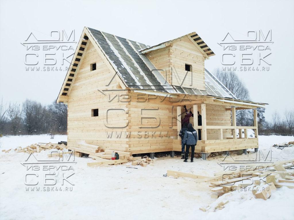 Дом 6 х 9 из профилированного бруса - большая терраса
