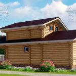 Проект двухэтажной бани с террасой из оцилиндрованного бревна 6 х 13 3