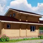 Проект двухэтажной бани с террасой из оцилиндрованного бревна 6 х 13 4