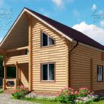 Проект двухэтажного дома с двумя балконами из оцилиндрованного бревна 8 х 8 м - 2