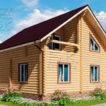 Проект двухэтажного дома с двумя балконами из оцилиндрованного бревна 8 х 8 м - 4