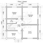 Проект двухэтажного дома с двумя балконами из оцилиндрованного бревна 8 х 8 м - план 1го этажа