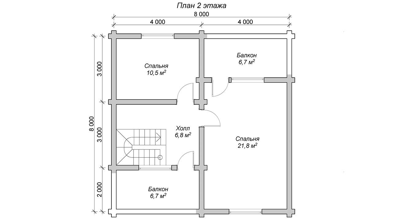 Проект двухэтажного дома с двумя балконами из оцилиндрованного бревна 8 х 8 м - план 2го этажа