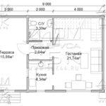 Проект брусового дома с террасой 6 х 6 (9) «Дугино» - план 1го этажа