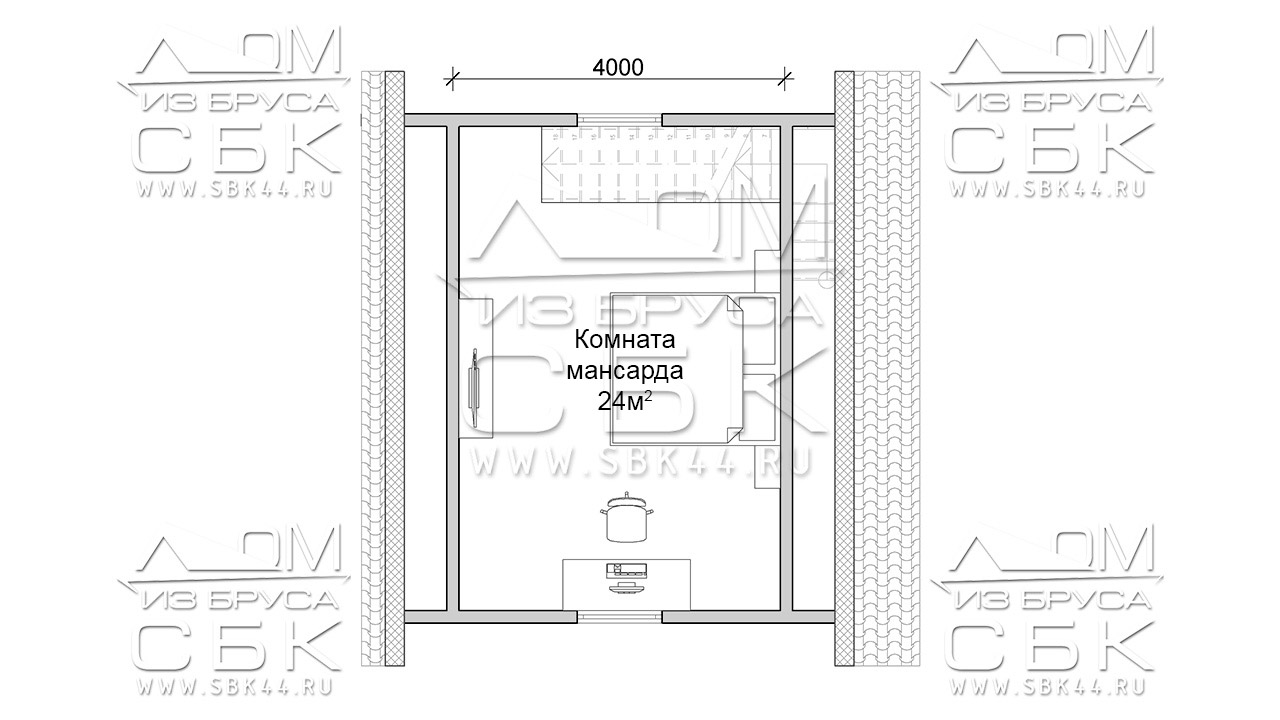 Проект брусового дома с террасой 6 х 6 (9) «Дугино» - план 2го этажа