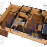 Проект брусового дома с террасой 6 х 6 (9) «Дугино» - перспектива с мебелью 1