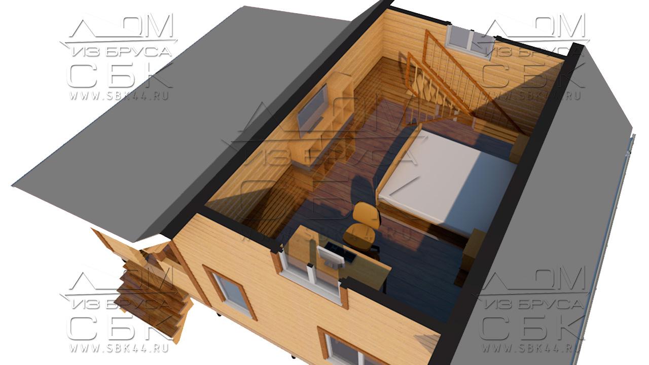 Проект брусового дома с террасой 6 х 6 (9) «Дугино» - перспектива с мебелью 2